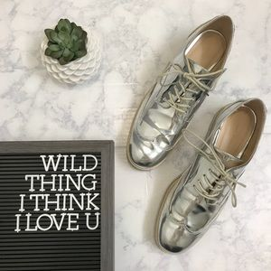 Zara Metallic Oxfords